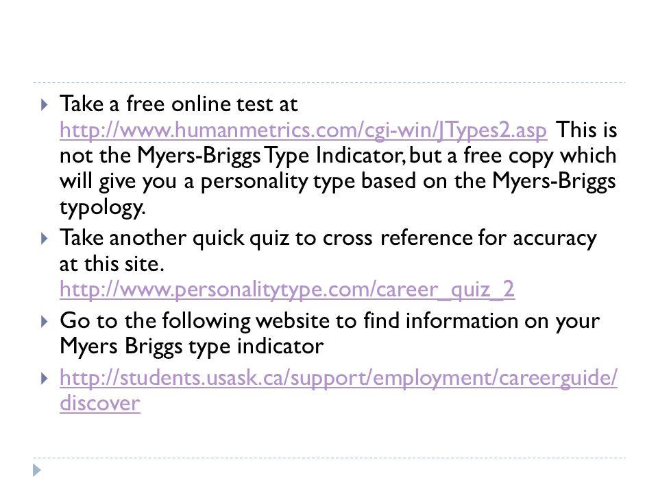 free myers briggs test