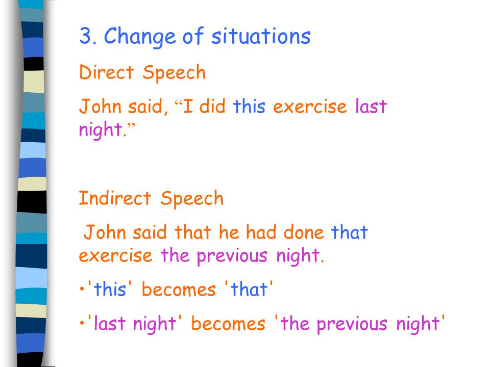 3. Change of situations Direct Speech