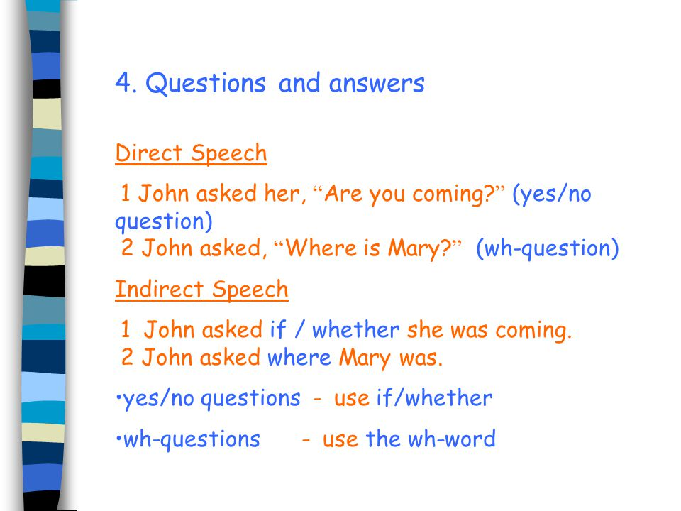 4. Questions and answers Direct Speech
