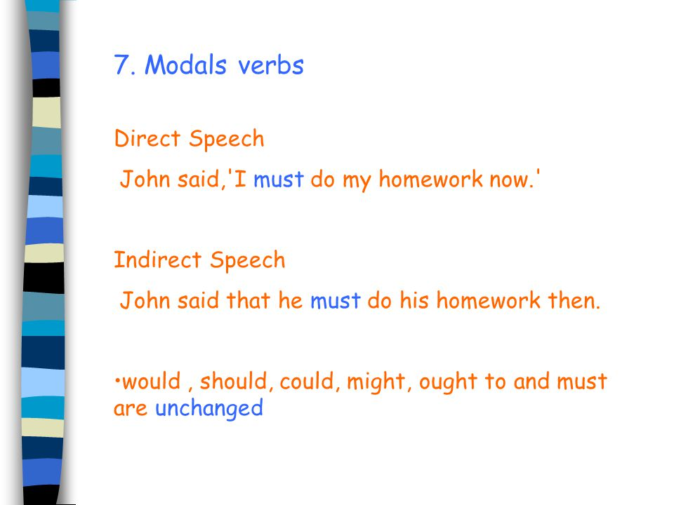 7. Modals verbs Direct Speech John said, I must do my homework now.