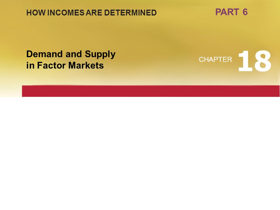 18 PART 6 Demand and Supply in Factor Markets