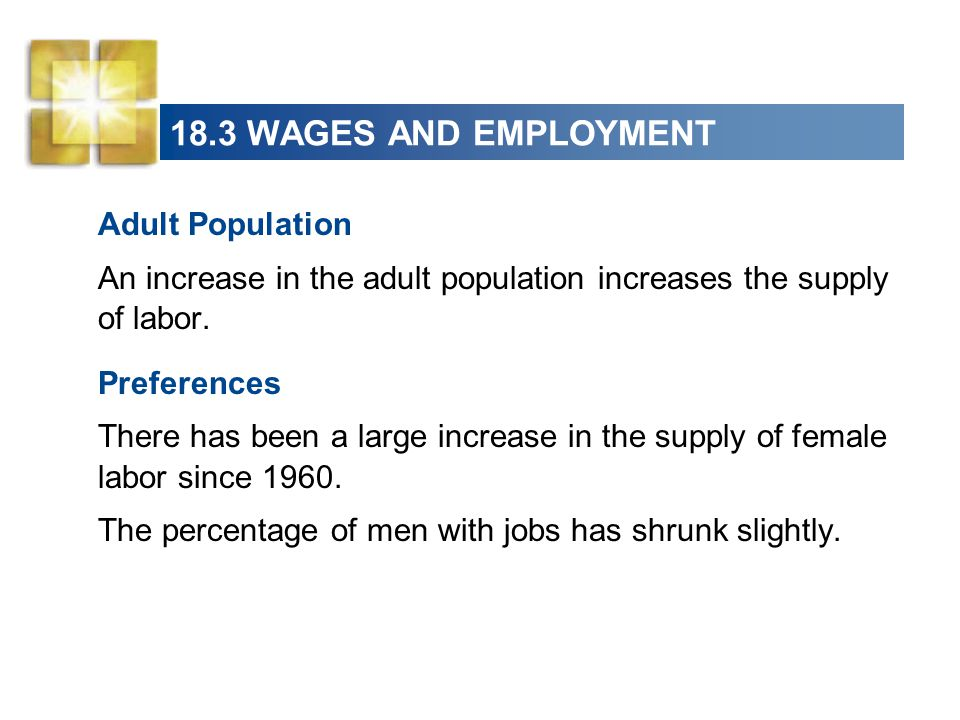 18.3 WAGES AND EMPLOYMENT Adult Population
