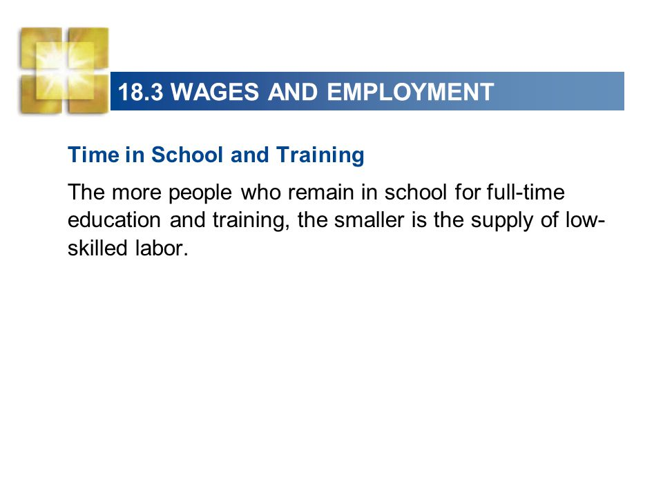 18.3 WAGES AND EMPLOYMENT Time in School and Training
