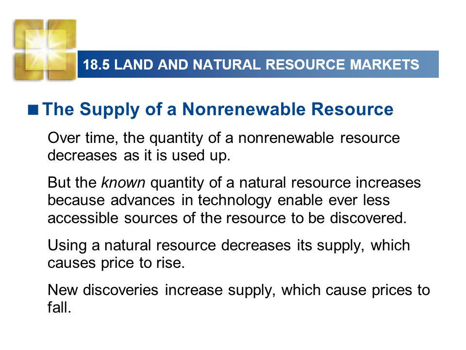 18.5 LAND AND NATURAL RESOURCE MARKETS