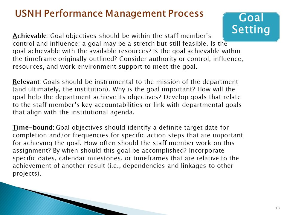 Goal Setting USNH Performance Management Process