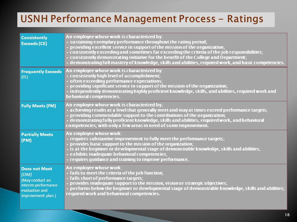 USNH Performance Management Process - Ratings