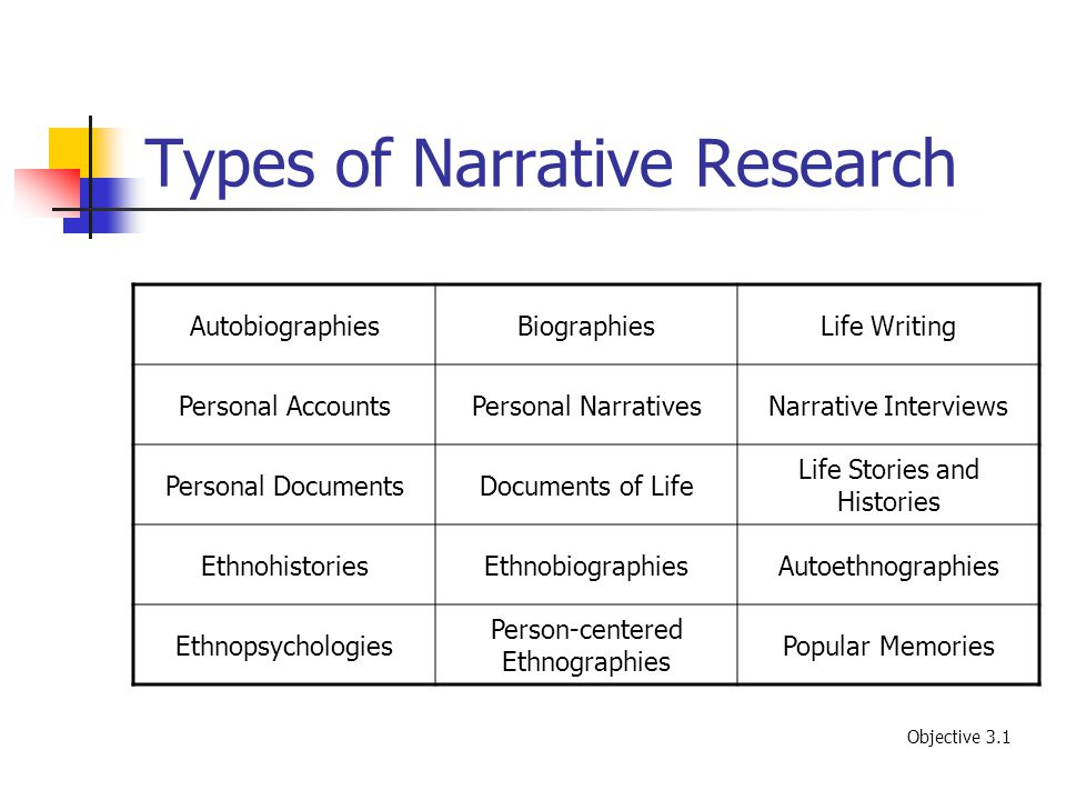 types of personal narratives