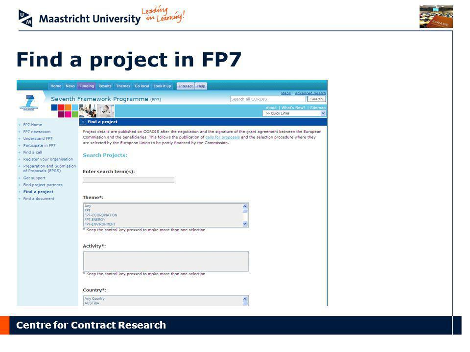 Find a project in FP7