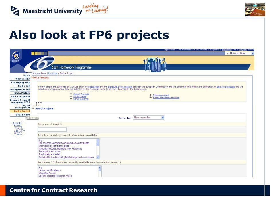 Also look at FP6 projects