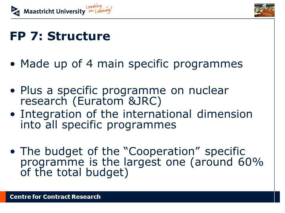 FP 7: Structure Made up of 4 main specific programmes