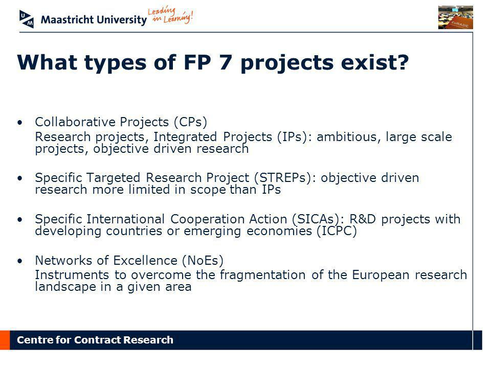 What types of FP 7 projects exist