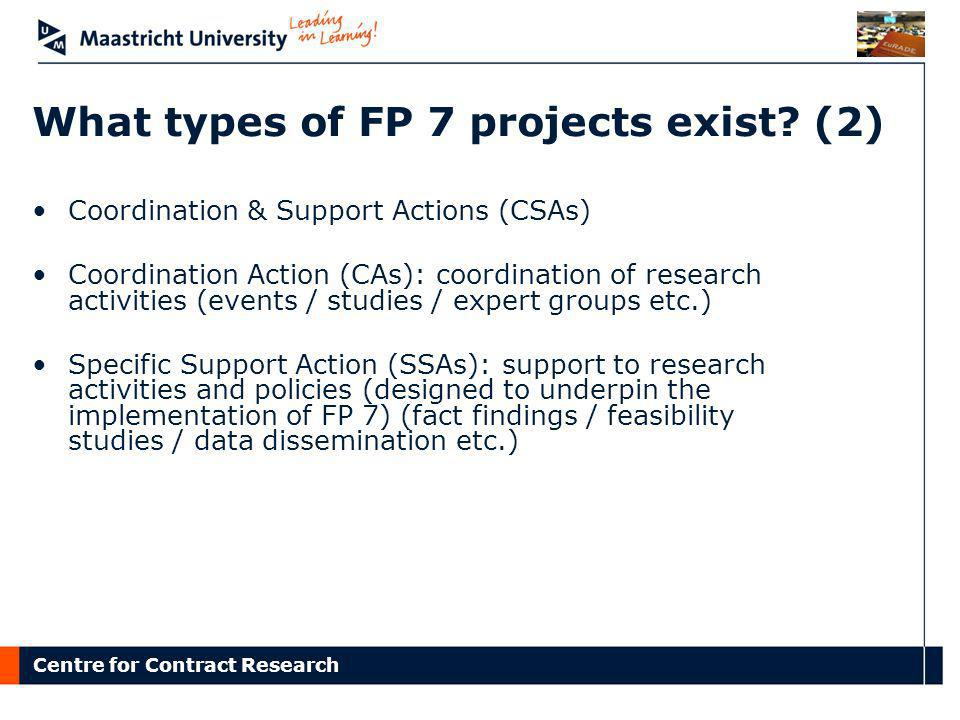 What types of FP 7 projects exist (2)