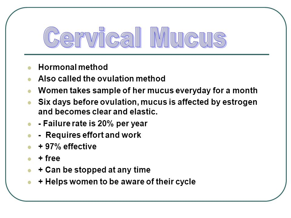Cervical Mucus Hormonal method Also called the ovulation method