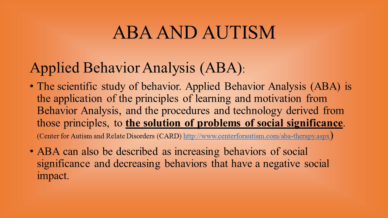 Aba And Autism Applied Behavior Analysis Aba