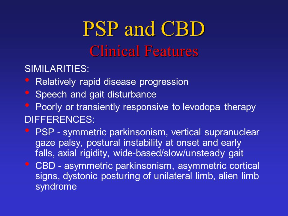 PSP and CBD Clinical Features