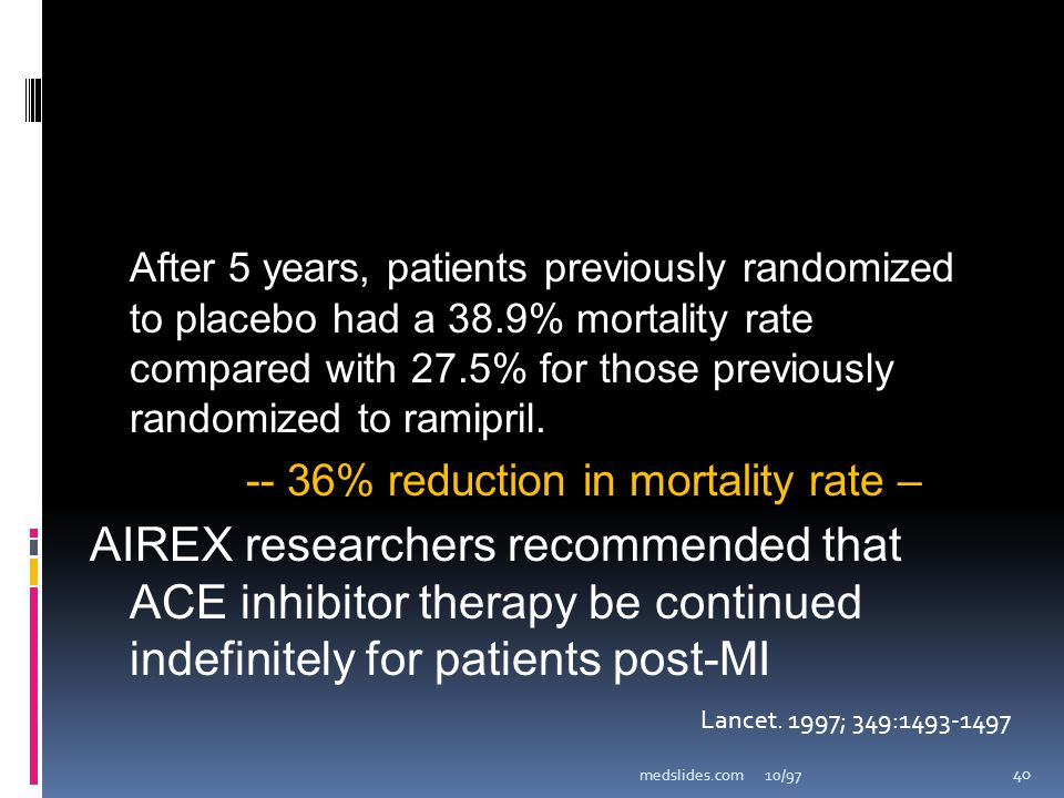 After 5 years, patients previously randomized to placebo had a 38