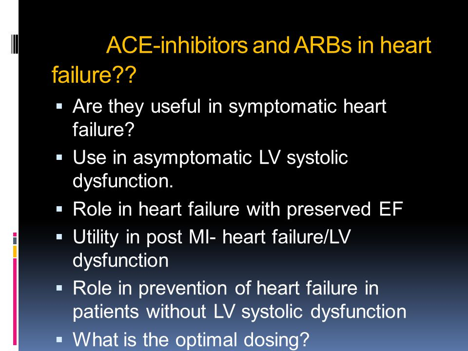 ACE-inhibitors and ARBs in heart failure