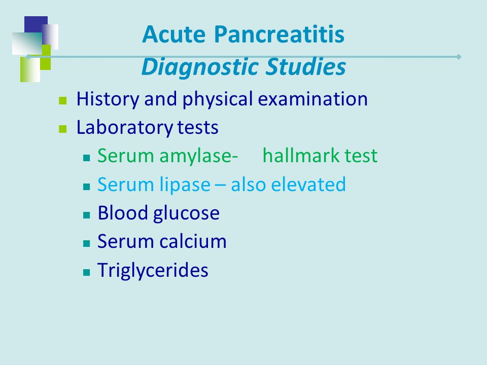 Acute Pancreatitis Diagnostic Studies