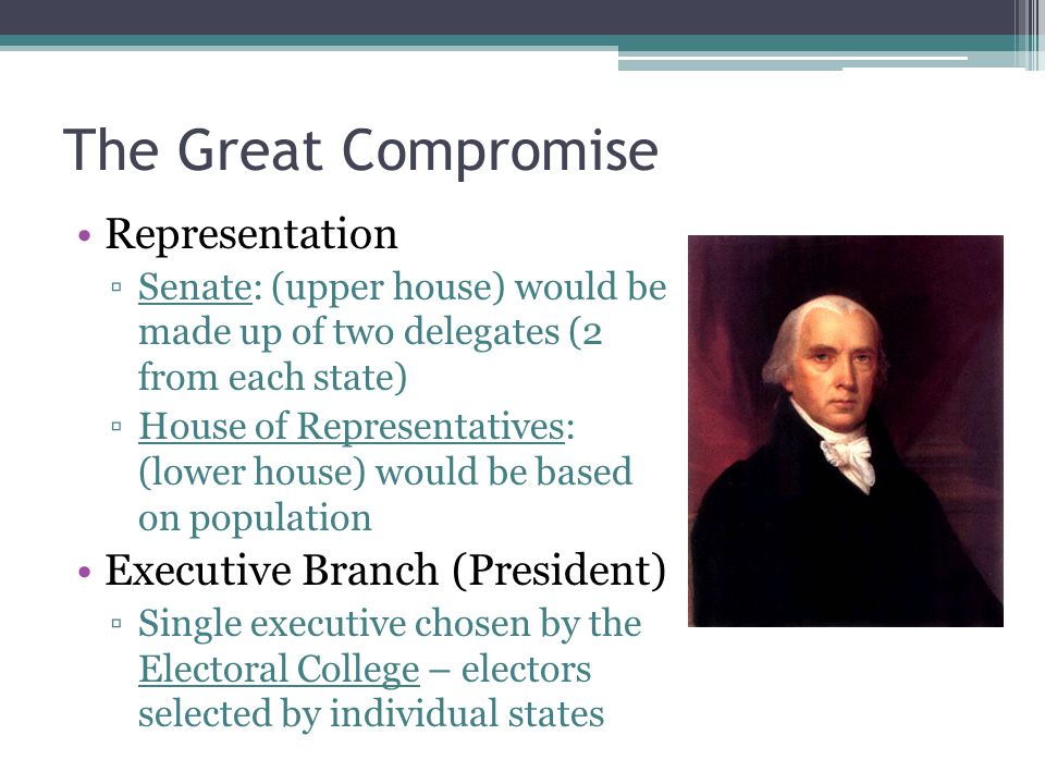 The Great Compromise Representation Executive Branch (President)