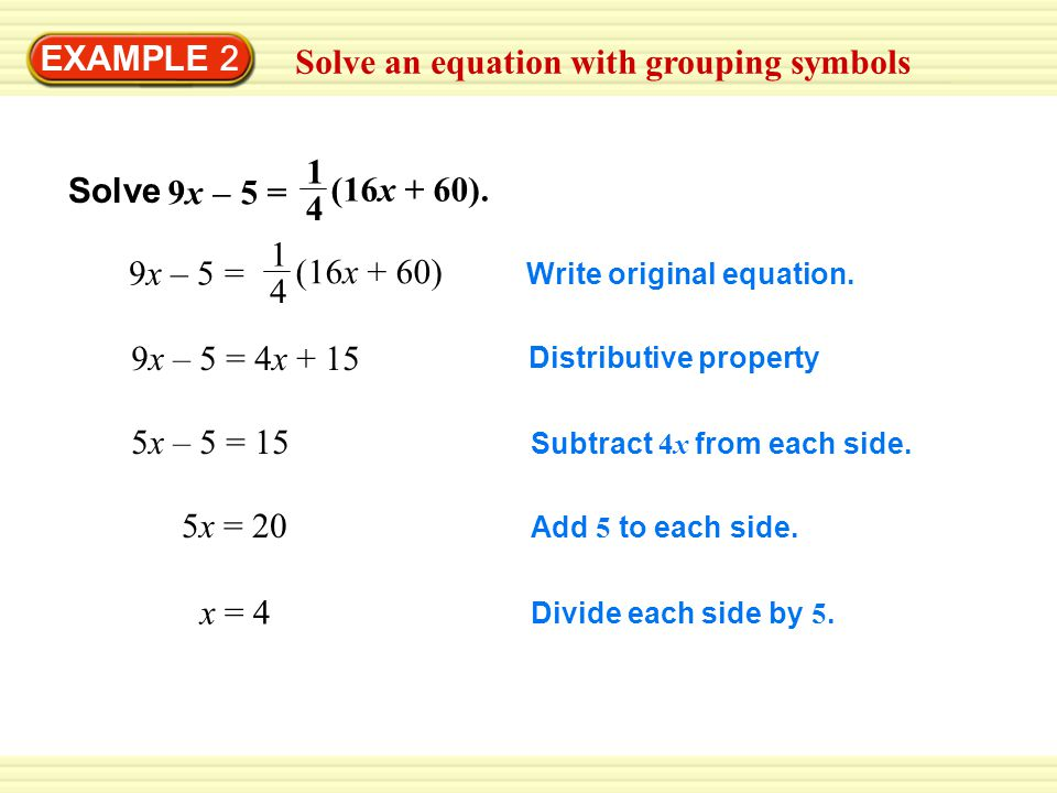 Solve an equation with grouping symbols