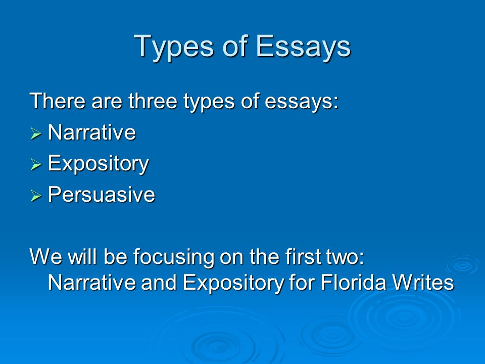 Types of Essays There are three types of essays: Narrative Expository