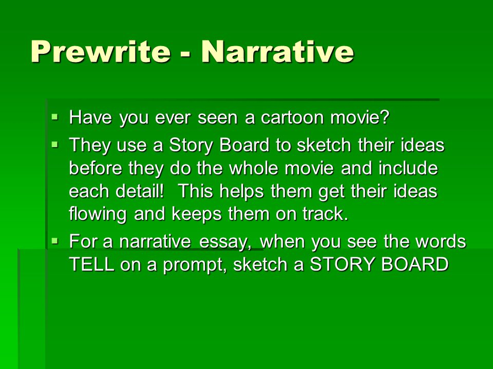 Prewrite - Narrative Have you ever seen a cartoon movie