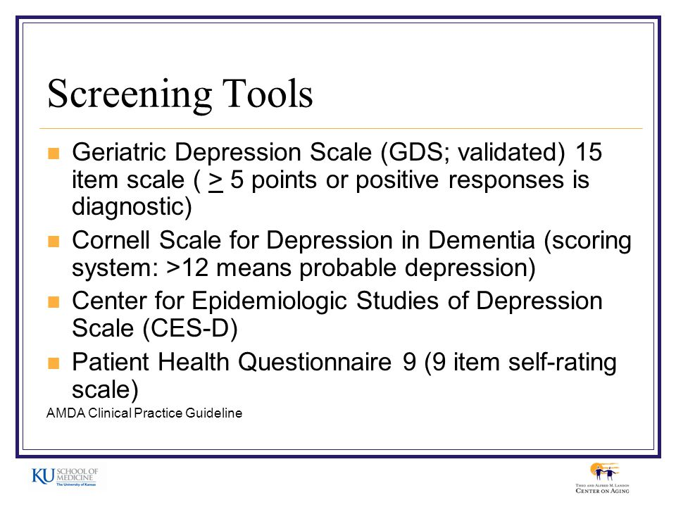 Screening Tools Geriatric Depression Scale GDS Validated 15 Item 5