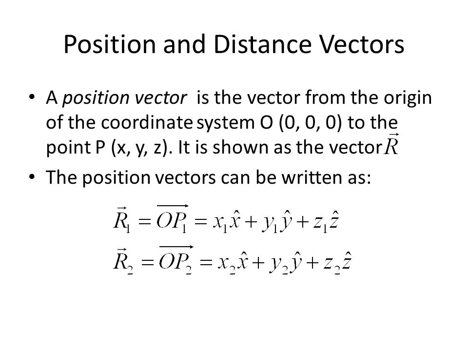 Position and Distance Vectors