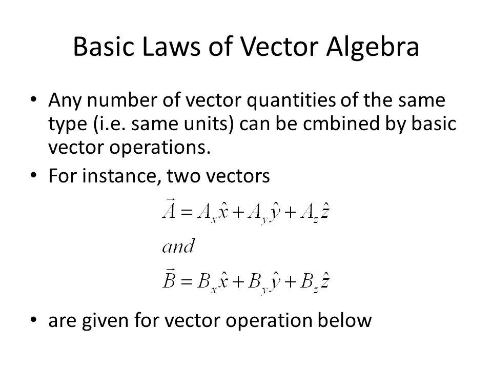 Basic Laws of Vector Algebra