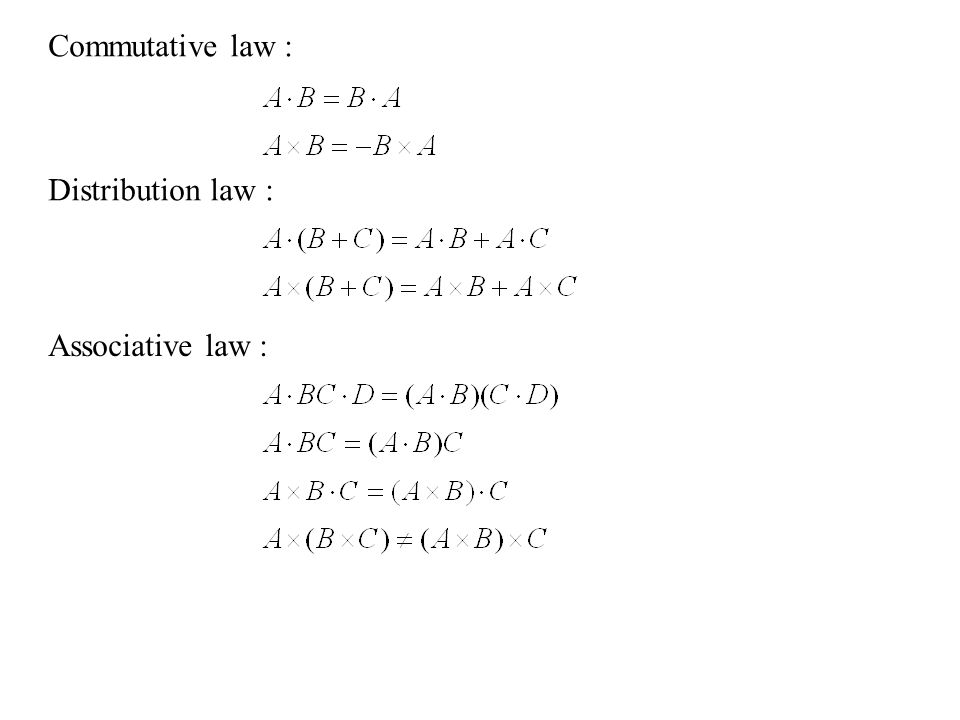 Commutative law : Distribution law : Associative law :