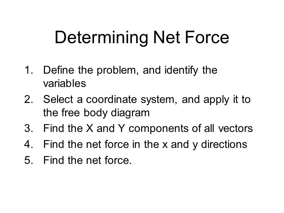 Determining Net Force Define the problem, and identify the variables