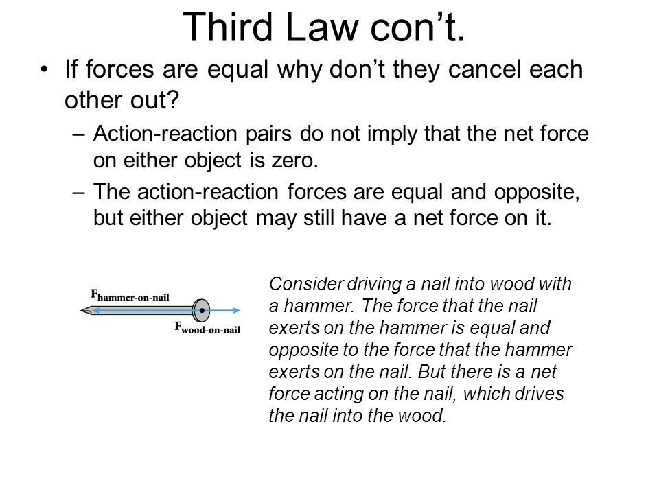 Third Law con't. If forces are equal why don't they cancel each other out