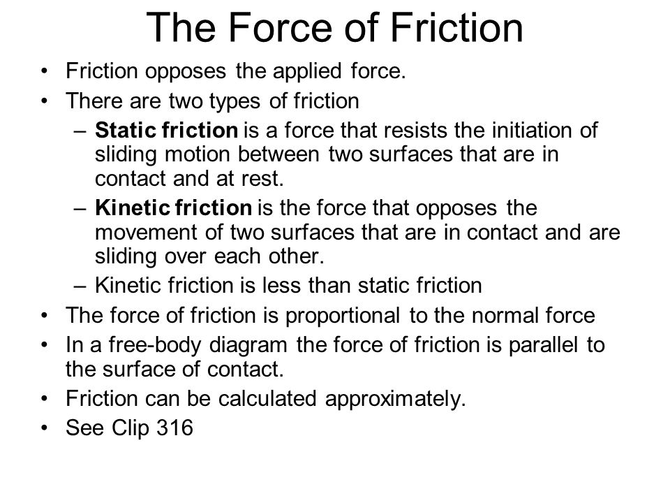 The Force of Friction Friction opposes the applied force.