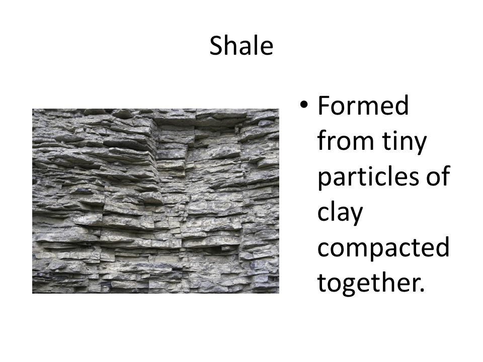Shale Formed from tiny particles of clay compacted together.