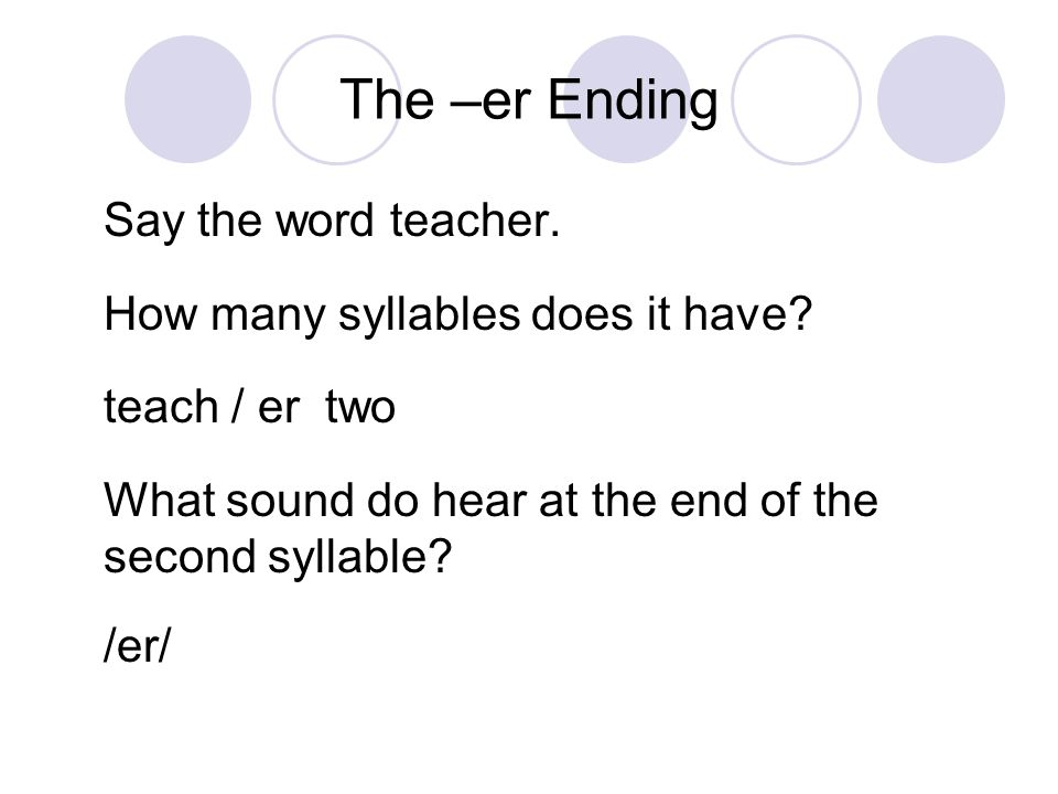 The Er Ending In Two Syllable Words