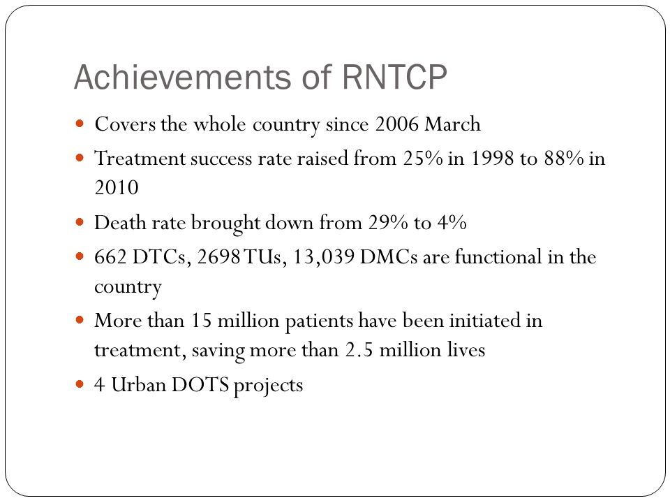 Achievements of RNTCP Covers the whole country since 2006 March
