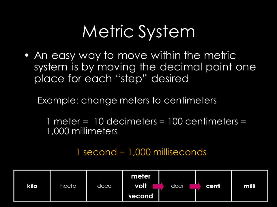 Metric System An Easy Way To Move Within The Metric System Is By Moving The Decimal