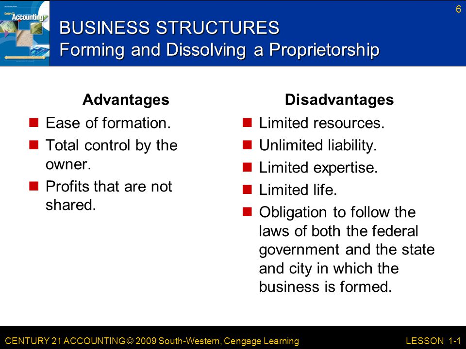 BUSINESS STRUCTURES Forming and Dissolving a Proprietorship