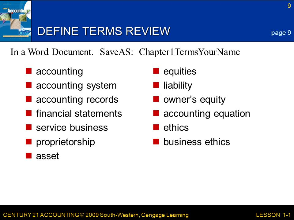 DEFINE TERMS REVIEW In a Word Document. SaveAS: Chapter1TermsYourName