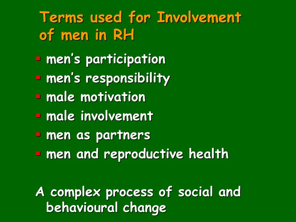Terms used for Involvement of men in RH