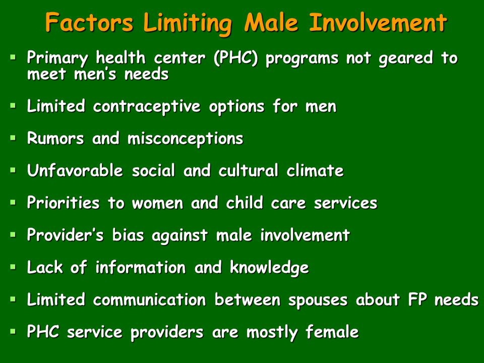 Factors Limiting Male Involvement