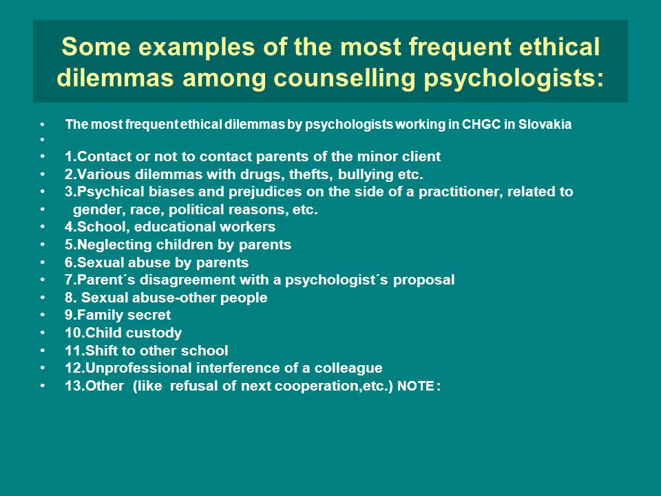 ethics and ethical dilemmas in the work of school counsellor dagmar