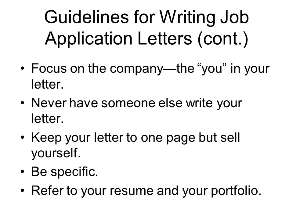 Guidelines for Writing Job Application Letters (cont.)