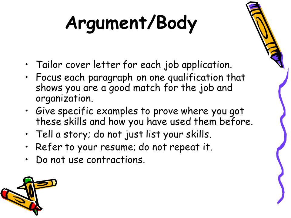 Argument Body Tailor Cover Letter For Each Job Application