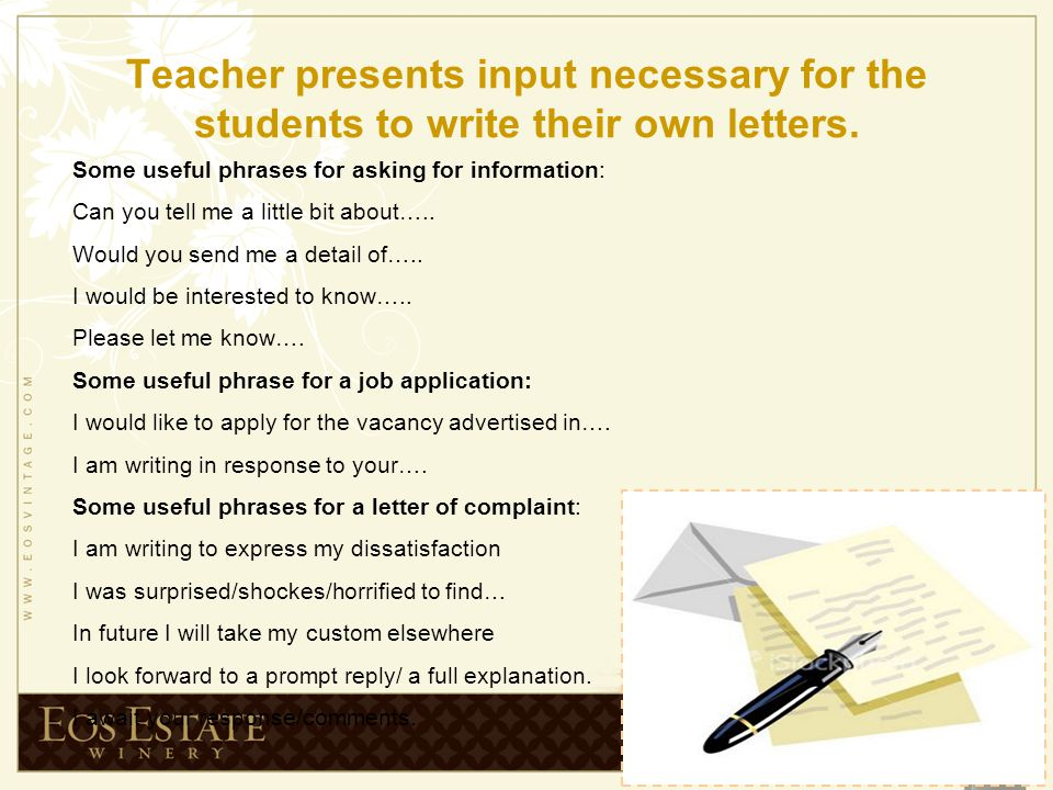 Teaching writing unit 12 new headway intermediate ppt video teacher presents input necessary for the students to write their own letters spiritdancerdesigns Image collections