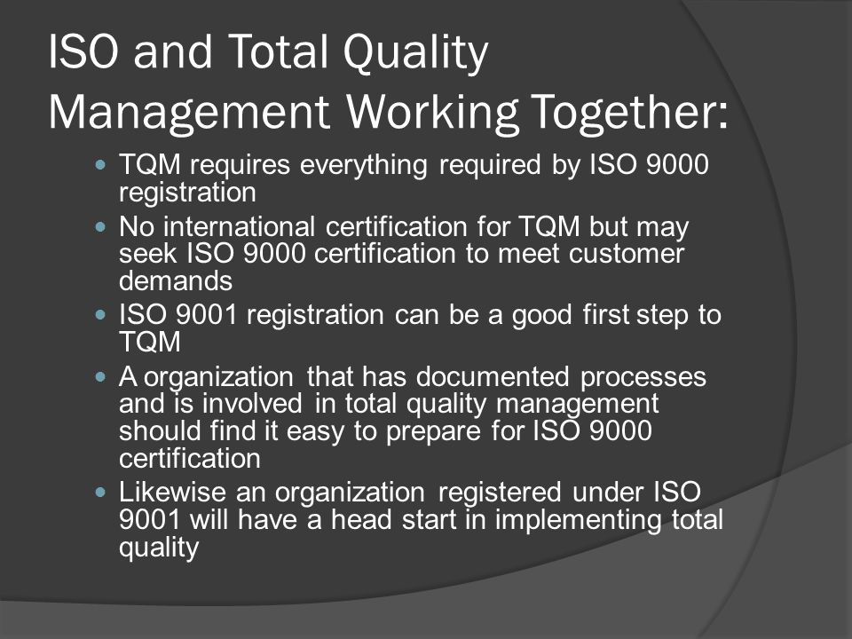 ISO and Total Quality Management Working Together: