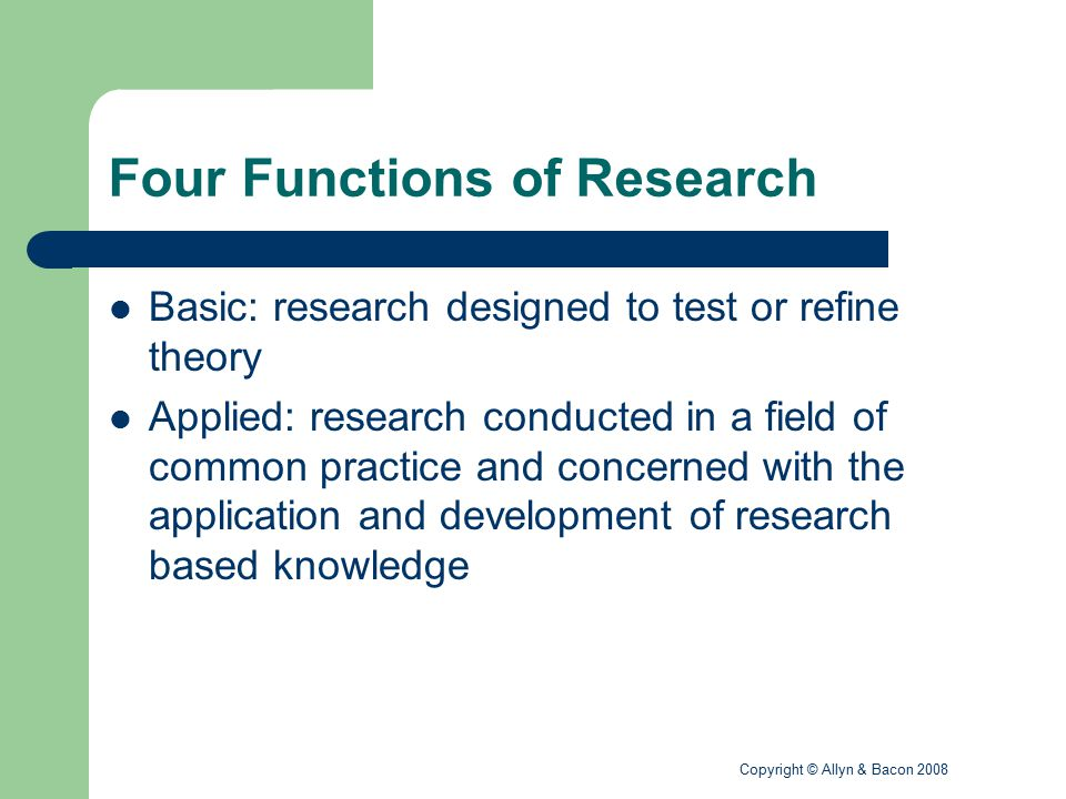 Four Functions of Research