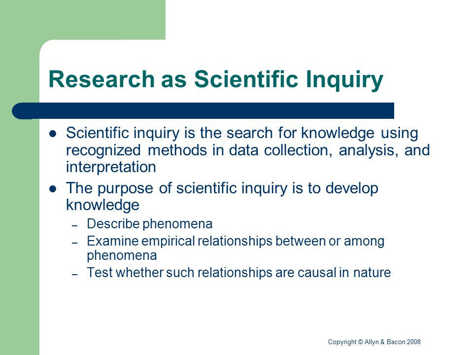Research as Scientific Inquiry