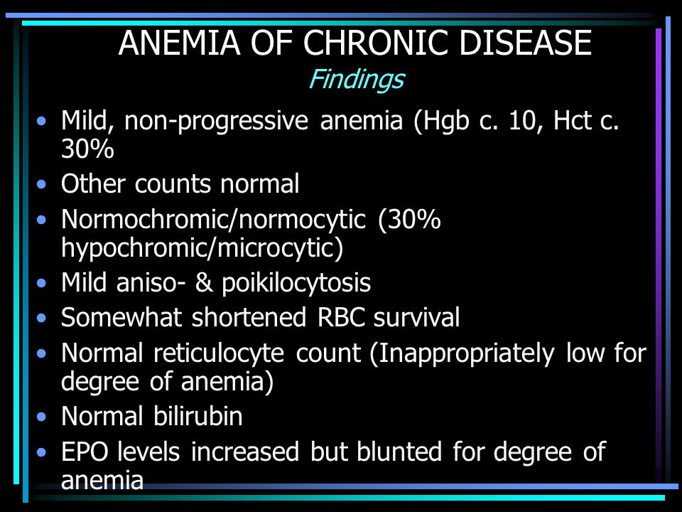 ANEMIA OF CHRONIC DISEASE Findings