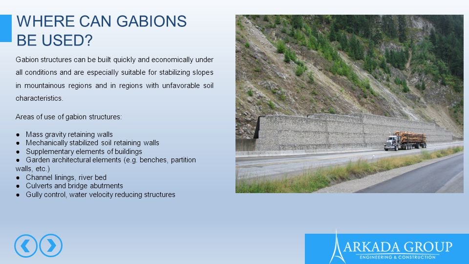 WHERE CAN GABIONS BE USED